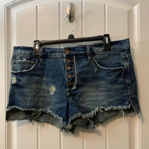 Free People High Waist Button Fly Jean Shorts